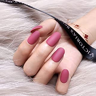 Fdesigner Matte False Nail Art Accessories Fake Nails Acrylic Long Clip on Nail Nude Rosy Oval Nail Decoration Artificial French Full Cover Nail Tips for Wedding Party Date