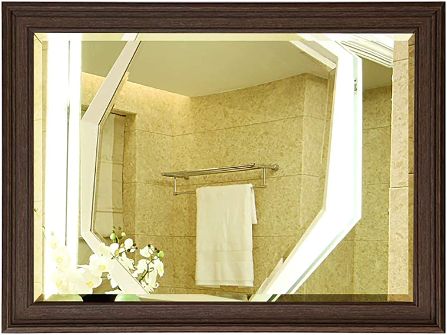 Bathroom Mirror Wall-Mounted European Retro Explosion-Proof Mirror Environmentally Friendly Resin Material Frame Used for Makeup, Bathroom Cabinets, Above The Sink