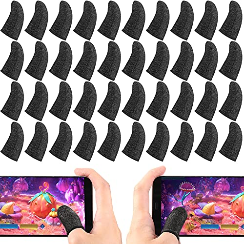 40 Pieces Gaming Finger Sleeves Thumb Sleeves Mobile Gaming Controllers Silver Fiber Finger Sleeve Breathable Anti-Sweat Smooth Seamless Touch Screen Finger Protector (Black)