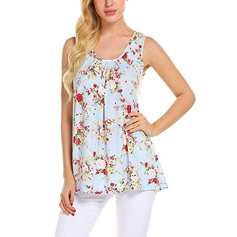 Aunimeifly Women Vest Summer Floral Print Tops Loose Sleeveless Casual Elegant Long Shirt Ladies Tunic Blouse