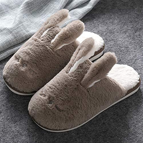 CNZXCO Bunny Slippers Parent-Infantil Traje Lindo Peluche Conejo Adecuado Zapatillas para Hombre Interior Zapatillas de Dibujos Animados Zapatillas de Animales (Color : Khaki, Size : 41/42EU)