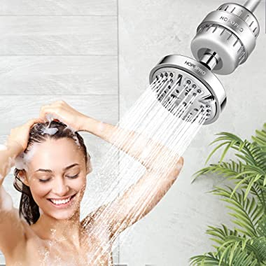 9 Modes Shower Head and 18 Stages Shower Filter Combo, High Pressure Filtered Showerhead High Output Hard Water Softener Puri