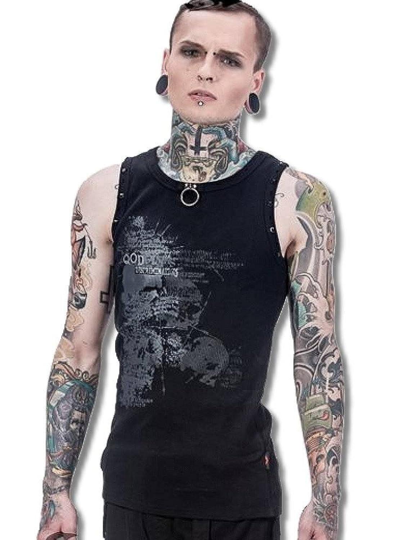 (クイーンオブダークネス) QUEEN OF DARKNESS 角鋲 ダメージ加工 Oリング付き テレコ タンクトップ メンズ ゴシック 黒