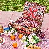 Kacsoo Juego de Cesta de Picnic para 4 Personas Juego de Cubiertos clásico, Cesta de Picnic de Mimbre para Acampar, al Aire Libre, día de San Valentín, Navidad y cumpleaños