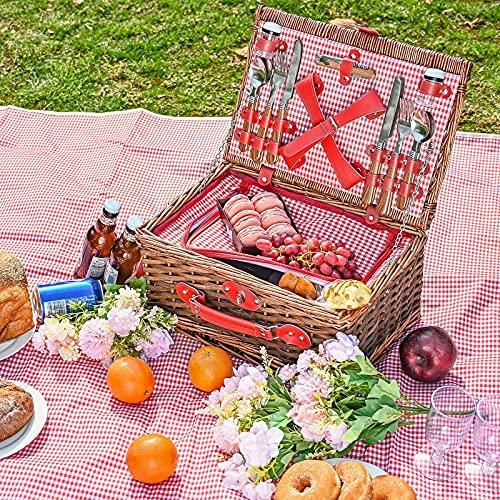 Kacsoo Wicker Picknickkorb für 4 Personen,Handgefertigte Picknickkorb Set mit wasserdichte Picknickdecke und Besteck, Tragbar Picknickset Picknick Korb,für Picknicks in Parks am See und Strandurlaub