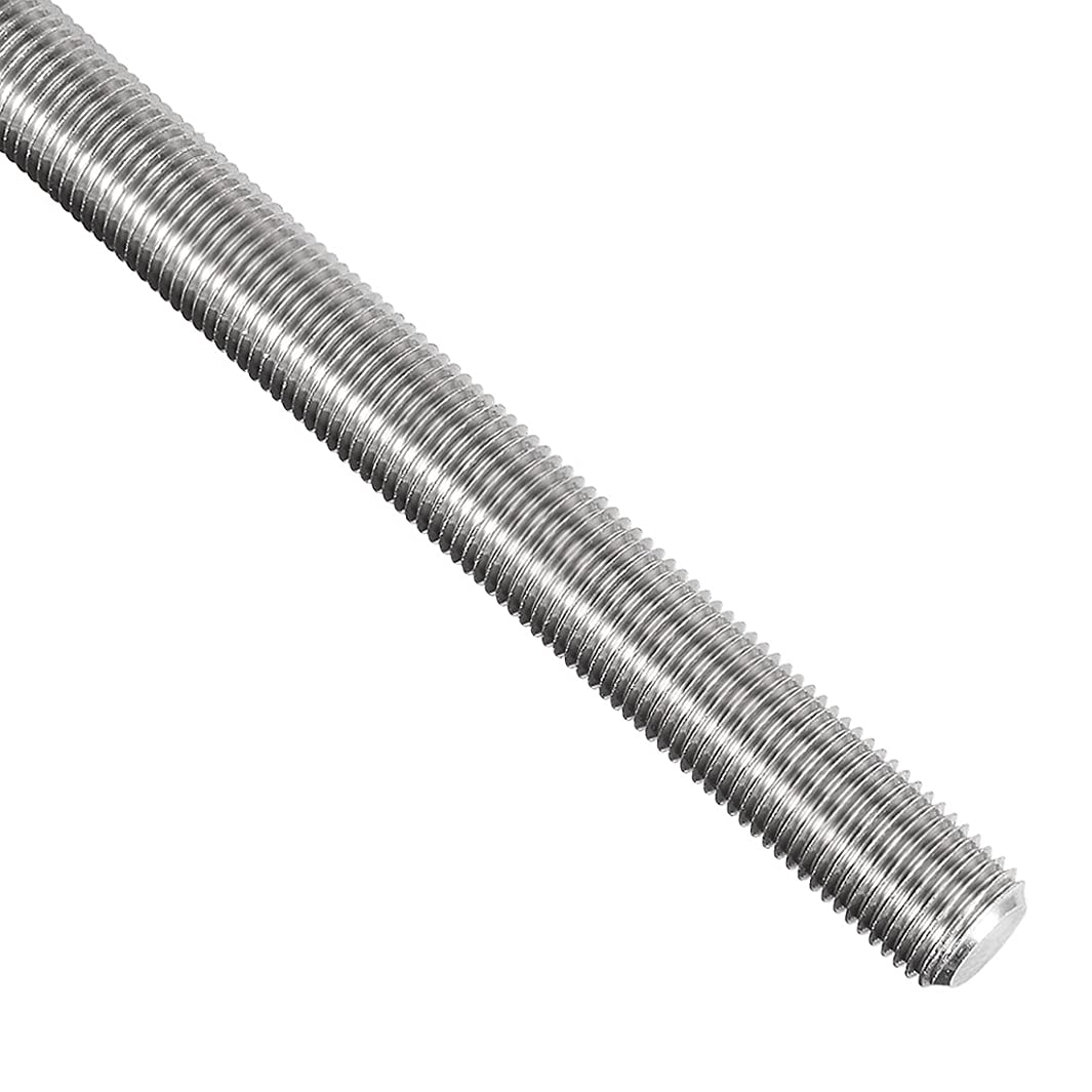 uxcell M12 Fully Threaded Rod, 304 Stainless Steel, 250mm Length, 1.25mm Thread Pitch, Right Hand Threads