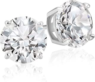 925 Sterling Silver Round Cut AAA Cubic Zirconia Stud Earrings – 2 Carat Total Weight CZ