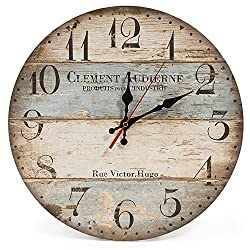 Diameter: 30cm; Thickness: 4mm. Material: Wooden MDF (not solid wood), covered by paper drawing, no frame no glass cover. Quiet: Silent Non-ticking wall clock with quality & quiet, precise quartz movements to guarantee accurate time. Easy to put in b...