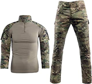 LANBAOSI Men's Tactical Combat Shirt and Pants Set Long Sleeve Multicam Woodland BDU..