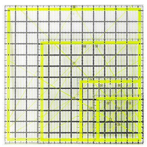 UOOU Reglas de acolchado cuadradas, regla de corte de tela acrílica, marca clara con anillos antideslizantes para acolchar y coser (10,5 x 12,7 x 12,7 cm, 15,7 x 15,9 cm, 9,5 x 9,12,5 x 12,5 cm)