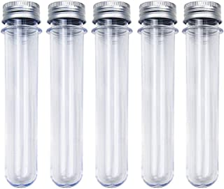 Rainbow-B 20pcs 25x140mm(45ml) Clear Plastic Test Tubes with Caps, with 1 100ml Plastic Beaker