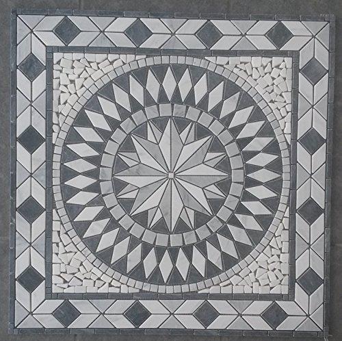 Marmor Rosone 67x67 cm Carrara Naturstein Windrose Mosaik Fliesen Einleger 057