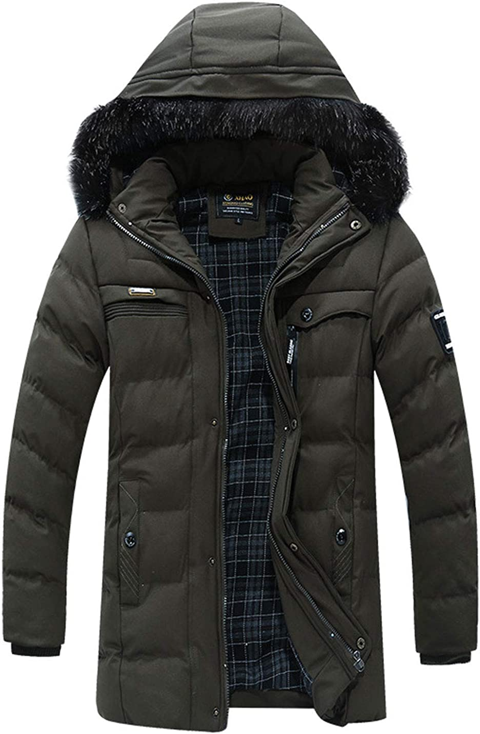 Flygo Men's Winter Casual Cotton Padded Full-Zip Button Thicken Quilted Fur Hooded Mid-Long Jackets Outerwear