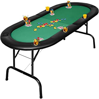 Giantex Folding Play Poker Table w/Cup Holder, for Texas Casino Leisure Game Room, Foldable Blackjack Table