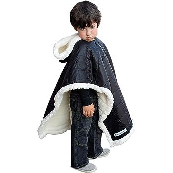 Kids Car Seat Poncho Boy Safe Coat Black Puffer Toddler Kids Down Sherpa Poofy Warm Hooded Blanket Safe Use Over Seat Belts