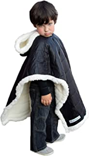 Kids Car Seat Poncho Safe Black Puffer Coat Down Like Poofy Warm Blanket Safe Use Over Seat Belts Winter