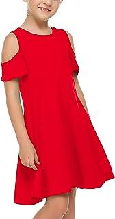 Balasha Girls Summer Dress Short Sleeve Cold Shoulder Solid Color Swing Casual Dresses with Pockets