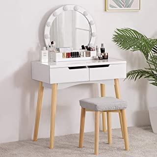 YOUDENOVA Vanity Table Set with Lighted Round Mirror, Makeup Dressing Table with Dimmer LED Bulbs, 2 Sliding Drawers & Bru...