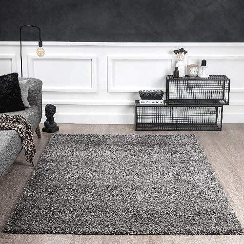 Port Moderner Hochflor Shaggy Wohnzimmer Teppich Soft Garn Einfarbig Anthrazit Größe: 80x140 cm