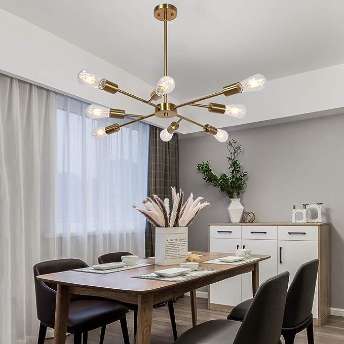 Banato Mid Century Modern Industrial Chandelier, 8 Light (Bulb not Including) Brushed Brass Finished Sputnik Chandelier Light Fixture for Dining Room Lighting Fixtures Hanging Ceiling Light