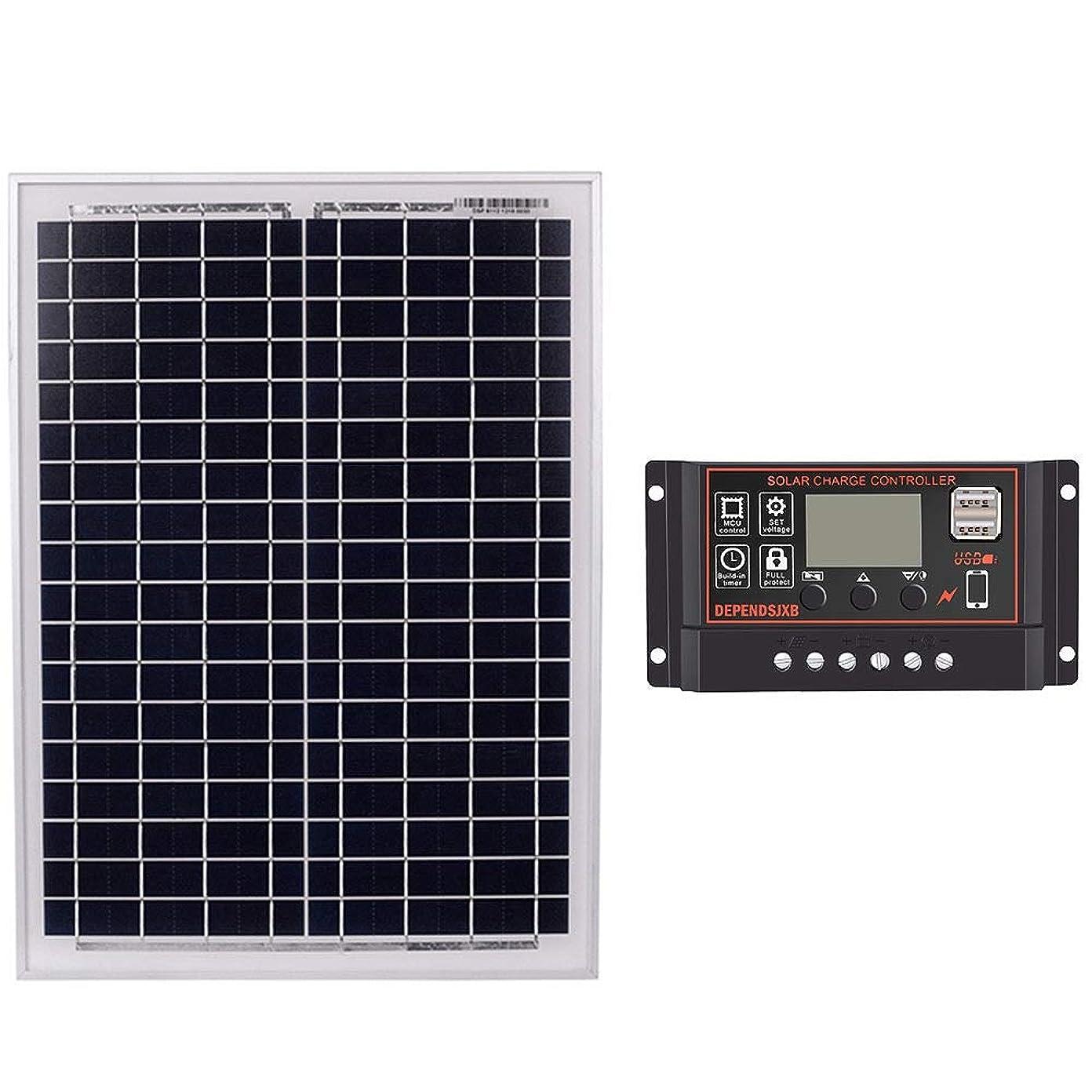 禁じるなめる密度ACAMPTAR ソーラーパネル 18V20W 黒色 ソーラーパネル + 12V / 24Vソーラーコントローラー、USBインターフェース付きバッテリー トラベル用電源(20A)