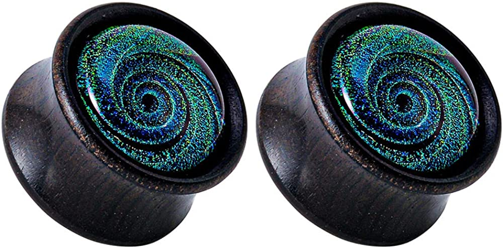 PUNKYOUTH 1 Pair Wood Gauge for Ears Double Flared Saddle Flesh Plugs Tunnels Blue Glass Galaxy Ear Stretcher Body Piercing Jewelry 0g to 1 inch