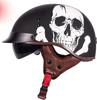 Lyanh Motorcycle Half Face Helmet, DOT Approved Youth Motorcycle Cruiser 3/4 Helmet XL (Grim Reaper),XXL