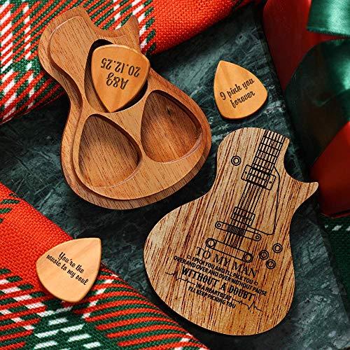 SOUFEEL Caja Púas Guitarra Madera Personalizada 3 Púas de Tu Nombre, Púas...