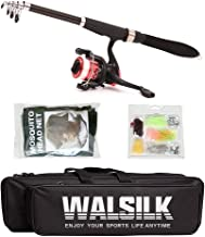 Walsilk Spinning Fishing Rod and Reel Combo Full Kit,Travel Telescopic Fishing Pole with Reel Line Hooks Bag Case,Fishing Gear Organizer for Kids & Adults