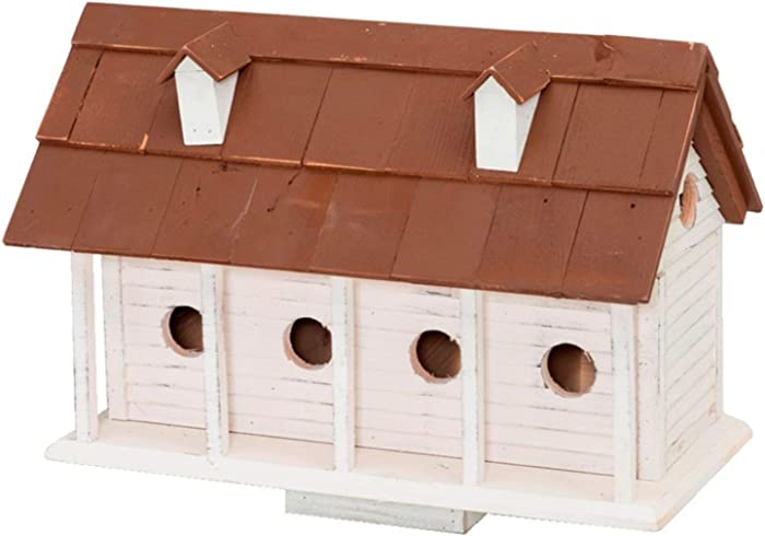 Home Bazaar Martinsburg Manor (Large) - White Wash W/Brown Roof