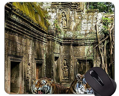 Yanteng Alfombrilla de ratón Tiger In Snow, Alfombrillas de ratón Tiger con Bordes cosidos