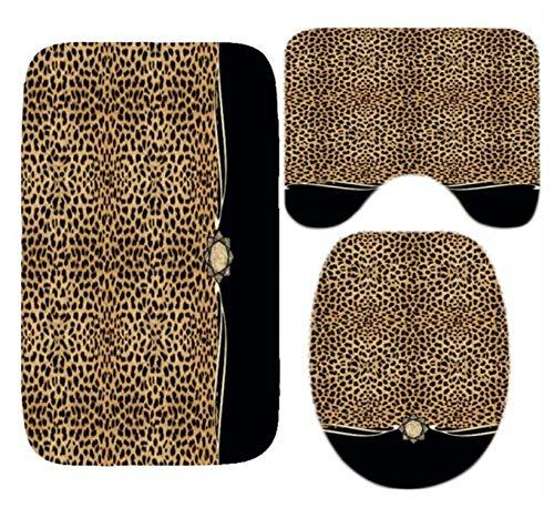 WYFCLHH 4Pcs Set Ribbon Leopard Print Shower Curtain and Bath Rugs Set Modern Cheetah Leopard Bath Curtains for Bathroom Home Decor-3Pcs_Mat_Set