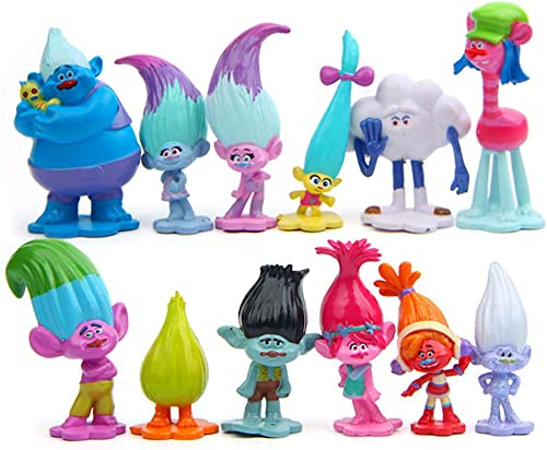Brent 12pcs Troll Toys Mini Trolls Figures Collectable Doll 3-7cm Action Figures Cake