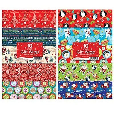 30 sheet christmas gift wrap assorted designs
