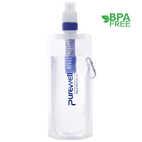 527c07155c Collapsible Water Filter Canteens for Hiking, Water Bag/Bottle with Filter,  Squeeze Water