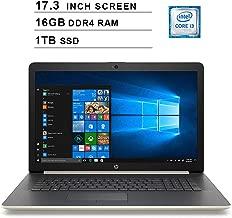 2019 Newest HP Pavilion 17.3 Inch HD Laptop (8th Gen Inter Core i3-8130U up to 3.4GHz, 16GB DDR4 RAM, 1TB SSD, Intel UHD Graphics 620, WiFi, Bluetooth, HDMI, Windows 10, Gold)