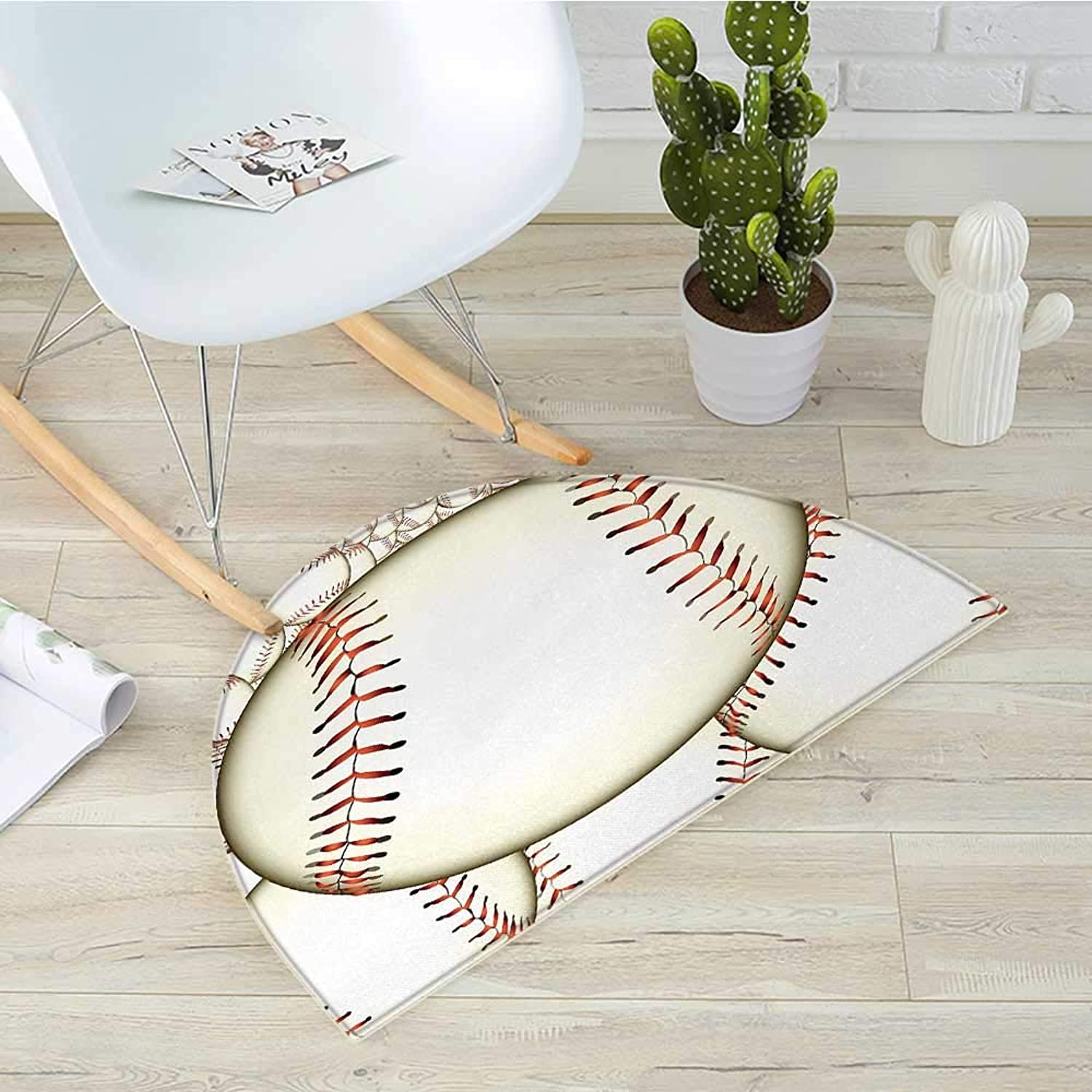 Baseball Semicircle Doormat Pattern of Baseball Balls Background Home Run Rules of The Game Success Score Print Halfmoon doormats H 31.5  xD 47.2  Cream Red