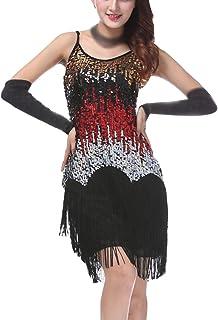 dd87c6c3a5e Mujer Salsa Tango Baile Latino Vestidos Elegante Lentejuelas Borla  Multicolor Vestido