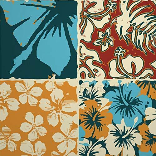 daoyiqi Juego de adhesivos decorativos para azulejos, hojas tropicales, 40,6 x 40,6 cm, vinilo para azulejos de suelo, 12 unidades, impermeable, para decoración del hogar