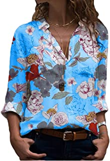 GUOCAI Women V-Neck Casual Long Sleeve Flower Print Tops Shirts Blouse