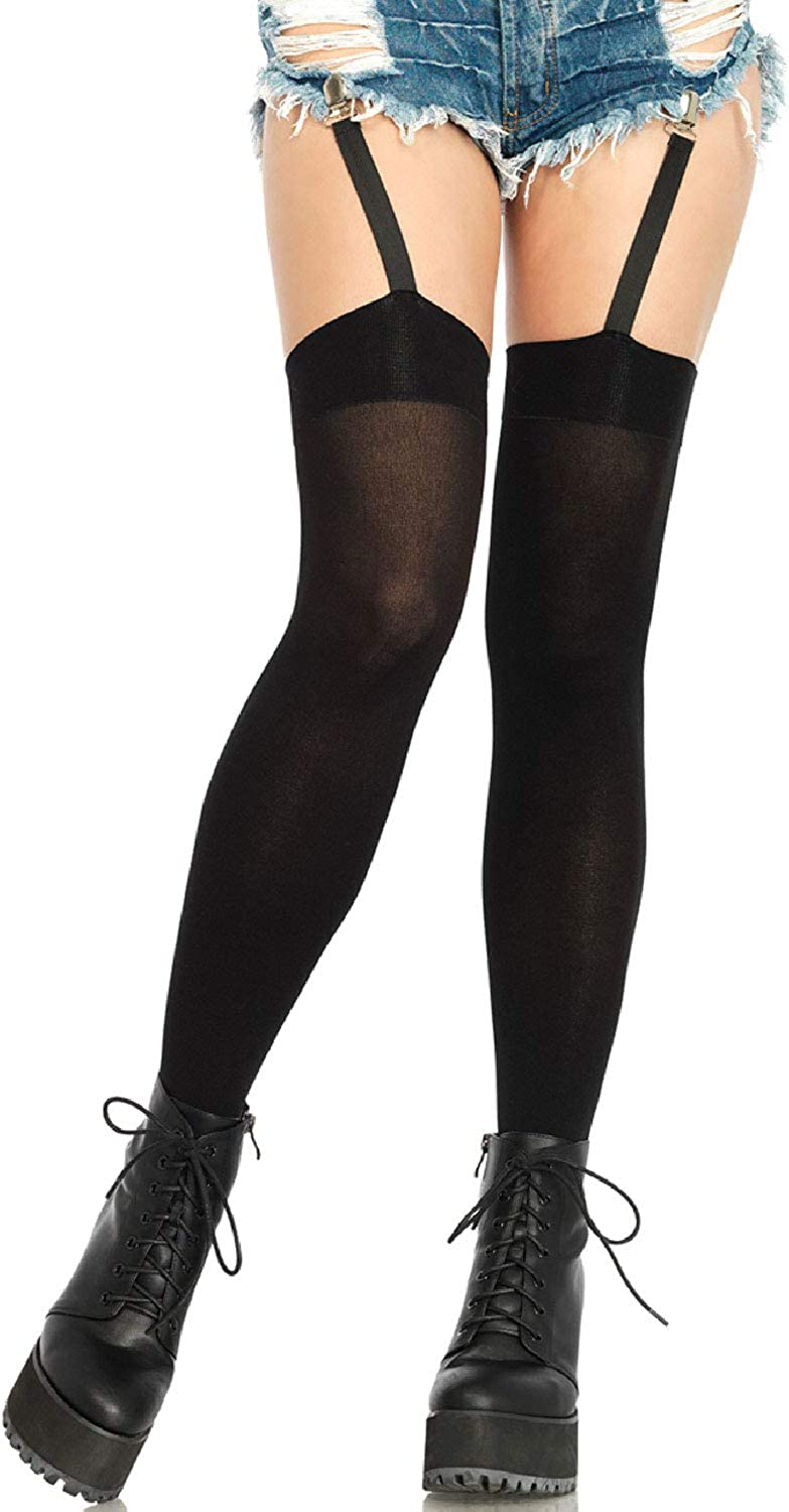 excellence Leg Avenue Women's low-pricing Thigh Highs Attached Clip with Black Garter