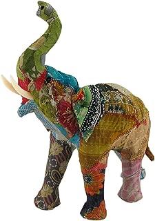 Zeckos Vintage Sari Fabric Covered Paper Mache Elephant Sculpture 13 in.