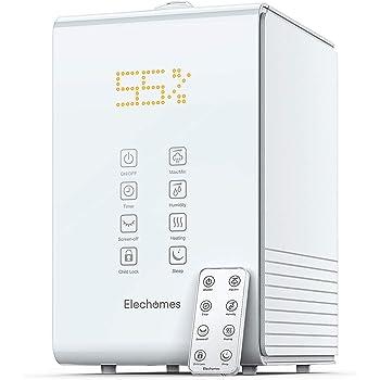 Elechomes SH8820 Umidificatore Ambiente Ultrasuoni, 5.5L Riempimento Superiore Nebbia Calda Fredda con Telecomando e Monitor Dell'umidità, 3 Velocità 12 Ore Timer, 40-70m² (bianca)