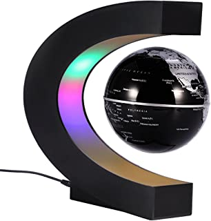 Yosoo C Shape Floating Globe, LED Lights Magnetic Field Levitation World Map Globe Gravity Educational Home Office Desk Decoration
