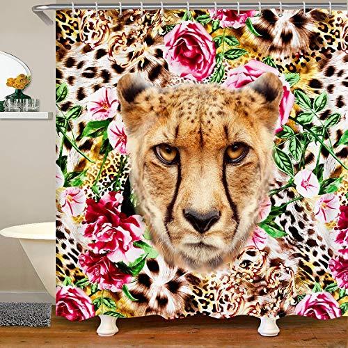 Leopard Frauen Mädchen Rose Gepard Drucken Duschvorhang 180x180cm für Kinder Jugendliche Dekor Luxus Leopard Drucken Blumen Wasserdicht Wilde Tiere Stoff Duschvorhang Textil