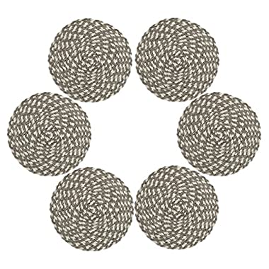 Placemts,Topotdor 15-Inch Round Placemat Braided Woven Placemats Set of 6 (Braided Cream Brown)