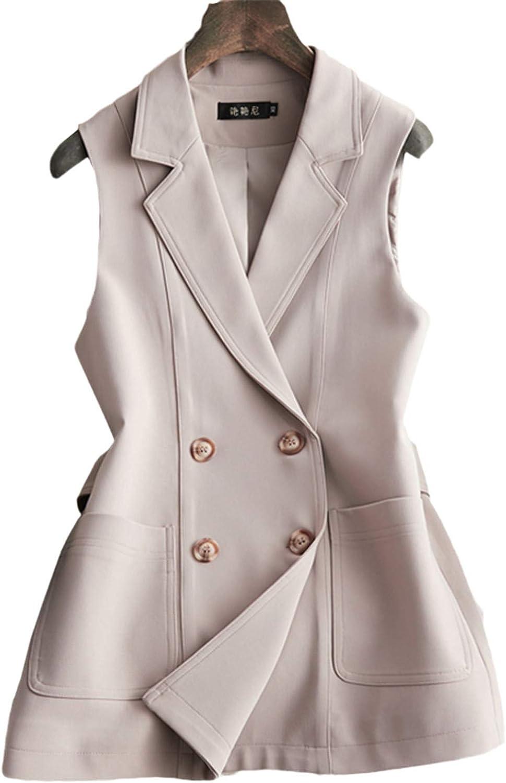 Autumn Women Blazers Sleeveless Long Vest Jacket Double-Breasted Casual Outwear Elegant Office Lady Jackets
