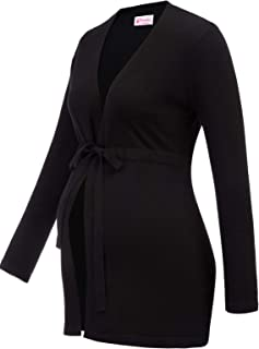 Women's Maternity Long Sleeve Casual Knit Coat Sweater Cardigan with Belt