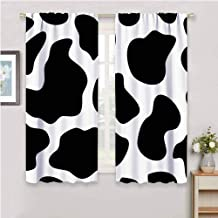 Cow Print Light Blocking Curtains for Living Room Hide of a Cow with Black Spots Abstract and Plain Style Barnyard Life Print Bring Beauty Black White W84 x L84 Inch
