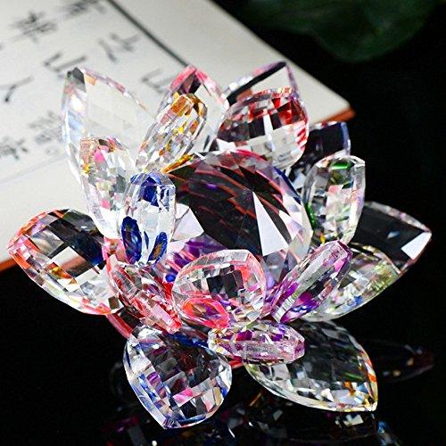 jieGorge Lotus Crystal Glass Figure Pisapapeles Adorno Colección de decoración Feng Shui, Decoración del hogar, para el día de Pascua (D)